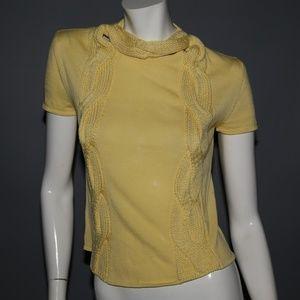 GIANNI VERSACE Yellow Wool Short Sleeve Sweater